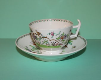 Rare Antique Hilditch Hand Painted Enameled  Porcelain Cup and Saucer/ 1870's