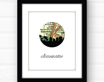Clearwater Florida map art | Clearwater Beach decor | Florida beach wall art | Florida beach sign | Florida map print | travel poster