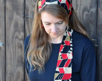 Women's Black, Tan, Red Stretch Hair Wrap, Headband, Headscarf, Hair Tie, Headcovering, Head Covering, hair scarf, handmade unique gift