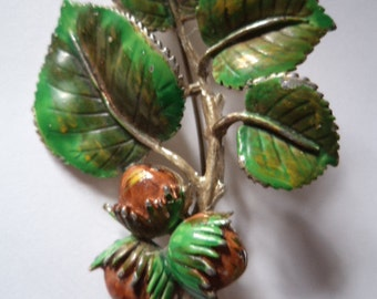 Fabulous Signed Exquisite Oak Leaves and Acorns Brooch/Pin