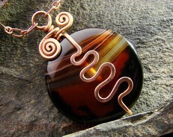 Banded Agate Pendant Necklace: Hammered Nickel-Free Copper Wire Squiggle Brown & Black Gemstone, OOAK Adjustable Copper Chain, DoodlepunkArt