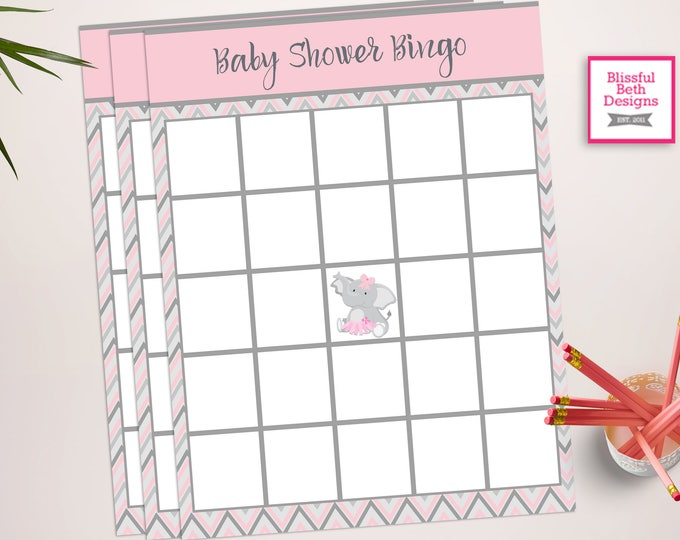 ELEPHANT TUTU BINGO, Baby Shower Bingo, Elephant Bingo, Baby Bingo, Elephant Baby Shower, Pink and Gray Bingo, Bingo, Baby Shower Bingo Game