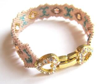 Pink and blue peyote stitch bracelet