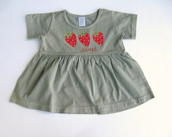 Strawberry Dress, Hand Dyed Sage Green and Hand Painted Cotton Shirt or Top