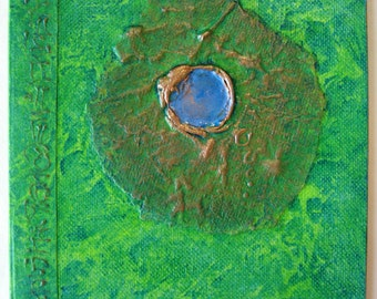 Handmade Journal Refillable Green Distress Sea Jewel 8x6 Original