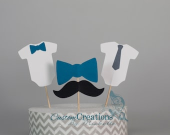 Little Gentleman Mustache Baby Shower | Birthday Party Cupcake Toppers | Classic Blue and Gray