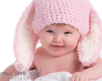 3 to 6m Baby Pink Bunny Hat, Infant Bunny Ears, Baby Girl Bunny Beanie, Baby Hat, Pink White Photo Prop  Costume  Easter Baby Gift