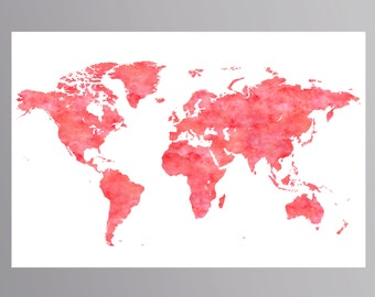 Aquamarine world map poster world map decor watercolor map coral world map poster coral nursery world map printable large world map watercolor world map coral gumiabroncs Gallery