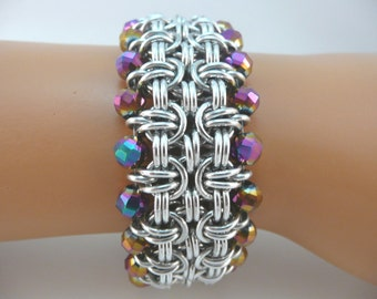 Byzantine variation chainmaille bracelet with iridescent purple crystals, chain mail bracelet, chainmail bracelet, chain maille bracelet