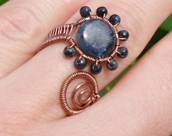 Blue Kyanite Pietersite Adjustable Ring Antique Copper Wire Wrapped 100% Hand Crafted