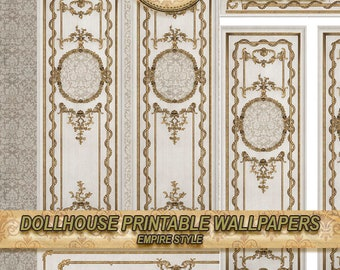 Miniature Dollhouse Wallpaper, decorative molding and damask motif . EMPIRE STYLE . tutorial .Repeating  patterns . dowload . 1:12. Tutorial