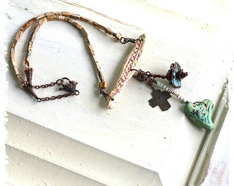 Handcrafted Talisman Necklace Gift Idea Rustic Boho Assemblage Mixed Media Polymer Clay Heart Cross Protection