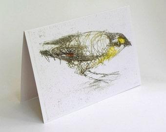 Pardalote Card, Greeting Card, Art Card of Bird, Australian Bird,  Bridget Farmer Cards, Bird Card, Australia