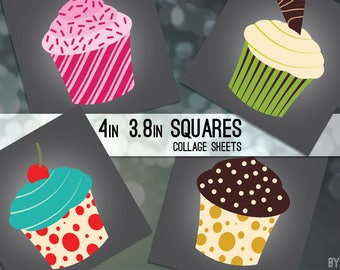 "Cupcakes Modern Digital Collage Sheet for Coasters 3.8"" and 4x4 Inch Square for Gift Tags Mini Cards Magnets Scrapbooking JPG"