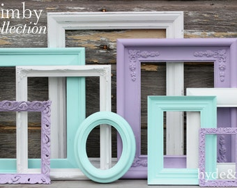 Baby Girl Nursery / Purple / White / Aqua / Lavender / Shabby Chic / Big Girl's Room / Distressed Picture Frame Set / Quimby Collection