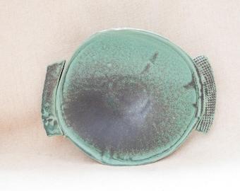 Vintage Turquoise Hand Built Rustic Bohemian Slab Textured Ceramic Bowl