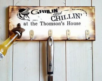 Custom BBQ Utensil Holder || Grillin and Chillin, Grilling Gift, Beer Bottle Opener, Housewarming Gift, Patio Decor, Fathers Day Gifts