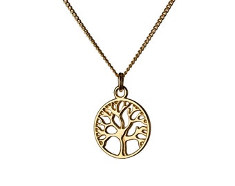 Circle Tree of Life 14K Gold Filled Pendant Necklace Nature Jewellery Necklace Unisex Jewellery Handmade Free UK delivery GP16