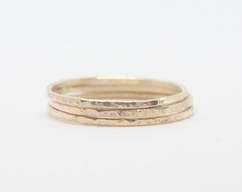 3 thin 9k solid gold ring . Set of 3 gold rings . Delicate hammered skinny ring . Dainty stacking ring set . Valentines day gift . SAMENA .