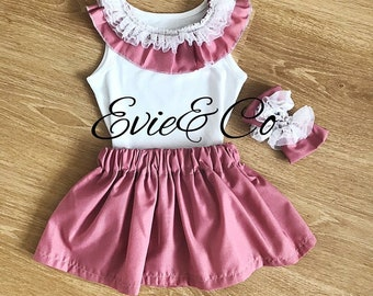 dusky pink skirt outfit