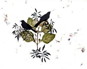 Bird Art Print Two Birds In A Tree Botanical Fine Art Nature Robin Silhouette Green Garden