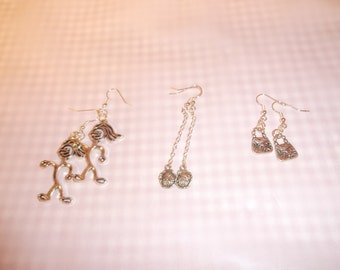 Dangle EARRINGS Your choice  .. Large Character Earrings or Single Rose Earrings or Small Handbag Earrings on silver tone metal