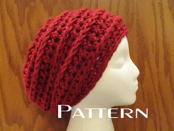 Crochet Pattern Slouchy Beanie Chunky Chain Design Pattern