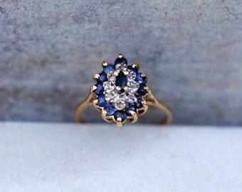 Vintage Sapphire Diamond 14 K Yellow Gold Ring