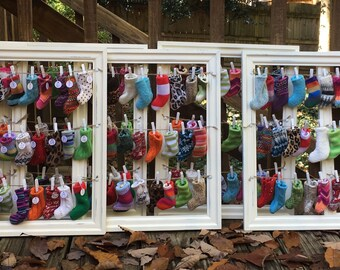 SUMMER SALE **Upcycled Advent Calendar made with mini knit stockings **SALE**