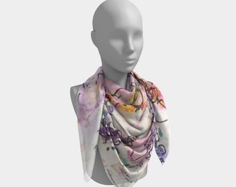 Garden of Hope Scarf Silk Scarves Chiffon Scarf Satin Scarf Floral Scarf Wearable Art Gifts for Her Wife Gift Anniversary Gift for Her