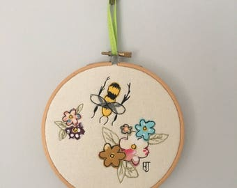 Bee with Flowers in Embroidery Hoop