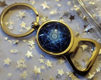 Beautiful Silver plated Pentagram Key Charm Key Ring Bottle Opener