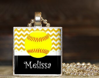 1 Personalized Gold Softball Pendant Necklace 15 Color Choices softball team softball team gifts varsity jv high school middle school