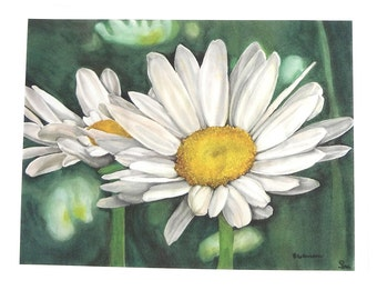 white daisies art print, flower watercolor art, botanical painting, white and green home decor, 5x7