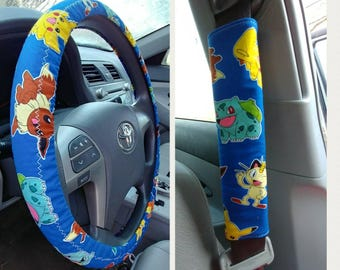 Pokemon Car Accessories ~ Steering Wheel Cover, Seat Belt Covers Handmade