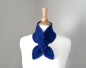 Navy Blue Ascot Scarf with Rose Flower, Merino Wool, Pull Through Knit Scarflette, Hand Knit, Neck Warmer, Merino Wool, Women's Fashion