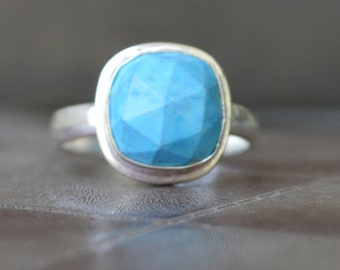 Turquoise ring, Cushion Faceted Arizona Blue Turquoise handmade Ring , 925 sterling silver Ring,  14K Yellow Gold, Rose Gold Fill Jewelry