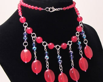 Red Jade Drop Necklace Set With Matching Earrings. Sweetheart Necklace