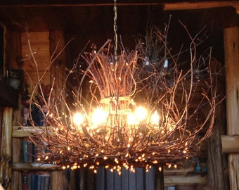 Cold Mountain - Rustic Chandelier Lighting - 6 Light - Twig Chandelier - Rustic Light Fixture - 300 Fairy Lights - Rustic Cabin decor 42x28