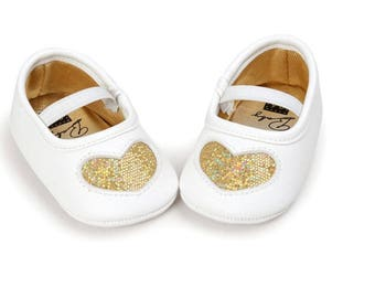 Gold Heart Glitter Shoes, Baby Shoes, Baby Girls Shoes,  Baby Shoes, Baby Shoes, Mocassins, Baby Shoes