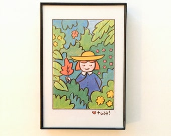 Madeline and flowers, print, 4 x 6 inches, art, children's books, classics, Ludwig Bemelmans, Madeline, kids, wall decor