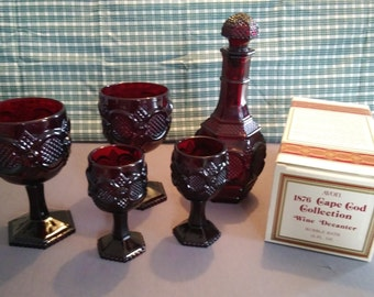 Avon 1876 Cape Cod Collection Ruby Red Glass Wine Decanter With (2) Large and (2) Small Wine Glasses