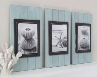 Set of 3 Long and Large 14x24 Plank Frames for 8x10 in Seafoam and Black