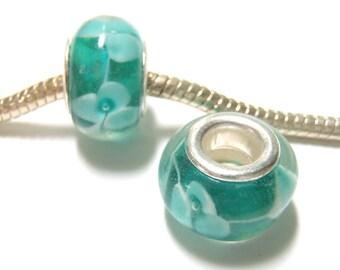 3 Beads - Blue Green White Flower Lampwork Silver European Bead Charm  E1332