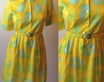 50s Yellow Floral Pin Tuck Dress with Belt
