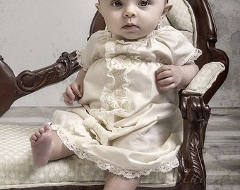 baby girl baptism DRESS, Layla's Lace in antique ivory COTTON with lace, custom newborn to 12 months vintage inspired