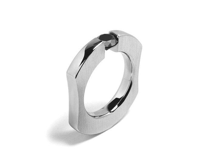 Black Onyx Comfort Fit Tension Set  Mens Ring Stainless Steel
