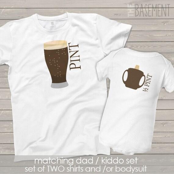 Matching Dad and baby kiddo shirt set - Drinking Buddies pint / half pint shirt set father's day set - dad baby matching rB8ayh220O