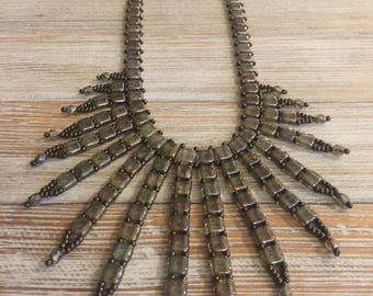 Tile Bib Fringe Necklace