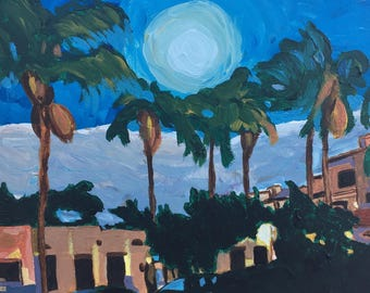 Original Painting, Moonlight Glow with Palm Trees Colorful Outsider Art